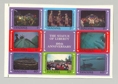 Tanzania #395-396 Statue of Liberty 1v Sheet of 8 & 1v Sheet of 12 Imperf Proofs