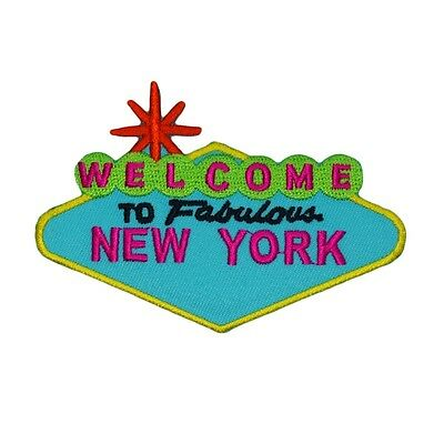 "Landmark Sign ""Welcome to Fabulous New York"" Patch USA Souvenir Iron-On Applique"