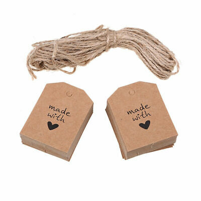 100pcs Made with Love Sign Paper Kraft Tag Wedding Party Favor Label Gift Cards
