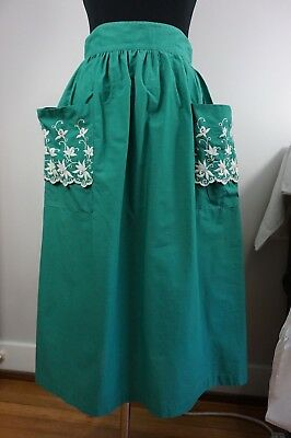 30s 40s Vintage Green Cotton Skirt / Embroidered Pockets - SO CUTE - Handmade
