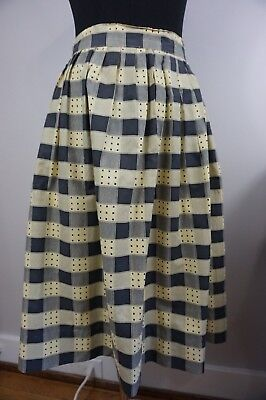 50s Cotton Checked / Plaid Pleated SKIRT ~Vintage Small~ Perfect For A Picnic!