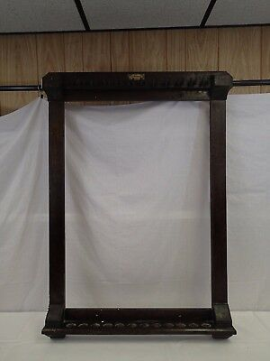 Antique Brunswick Balke Collender Pool 12 Cue Stick Wall Rack Wood B.A. Stevens
