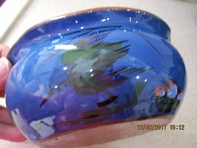 Old Torquay Ware Longpark, Diving Kingfisher, Fluted Edge Bowl,12.8 Cm Across