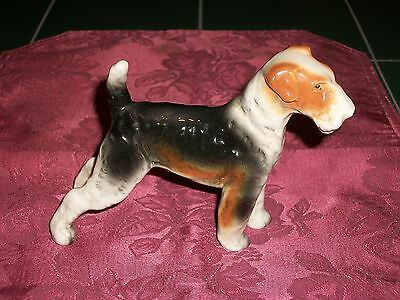 "1960s Enesco Imports Japan Porcelain Standing 7"" by 4&1/2"" Fox Terrier Figurine"