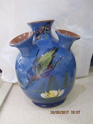 Longpark Old Torquay Ware Kingfisher Udder Vase,perfect,21 Cm Tall