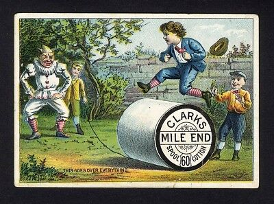 CLARKS MILE END Spool Cotton Thread Victorian Trade Card Boys CLOWN Jumping