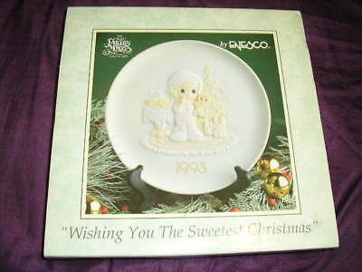 Precious Moments 1993 Christmas Collector Plate Wishing you The Sweetest Xmas