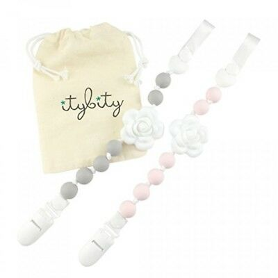 Pacifier Clip Girl, BPA Free Silicone Teether, Set of 2 (Petal Pink/Soft