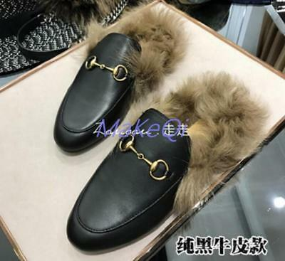 Womens Slipper Mules Horsebit Genuine Leather Rabbit Fur Lined Embroidery Loafer