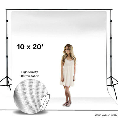 10' x 20' Digital Photography White Muslin Backdrops