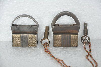 2 Pc 1930's Old Iron Handcrafted Engraved Brass Fitted Engraved Padlocks