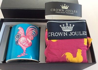Crown Joules UK M. EU L. Prize Cock Boxers And Mug Gift Set. Combined Postage