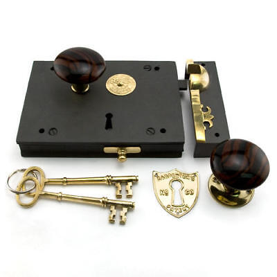 Cast Iron Carpenter's Rim Lock Set with Striped Brown Porcelain Knobs
