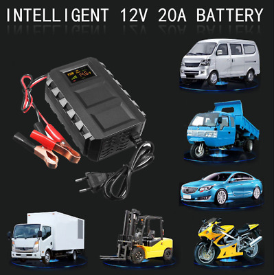 12V 20A LCD Intelligent Automobile Motorcycle Car Battery Charger Jump Starter