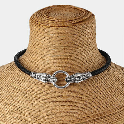1Pcs Fashion Antique Silver Dragon Collar with Genuine Leather Choker Necklace