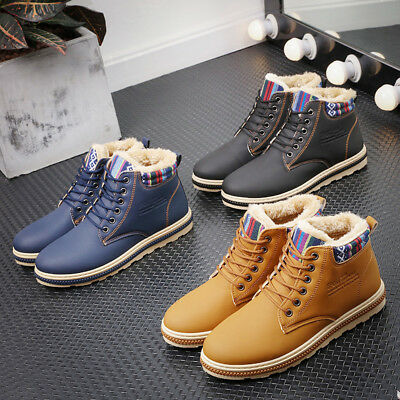 Men Winter Warm Thicken Leather Ankle Snow Boots Casual Artificial Wool Shoes