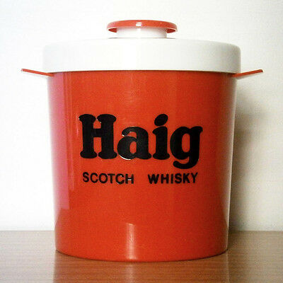 Collectable Vintage Barware Red & White Plastic Haig Scotch Whisky Ice Bucket