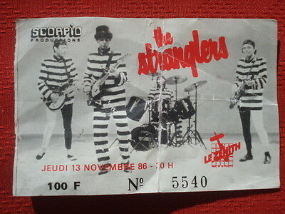 Ticket/Billet/Place/Concert Collection**** The Stranglers - Le Zenith 1986 Music