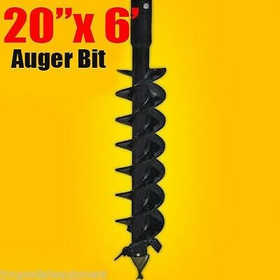 """20""""x 6' Auger Bit HDC 2"""" Hex, For Difficult Digging Conditions, Made In USA"""