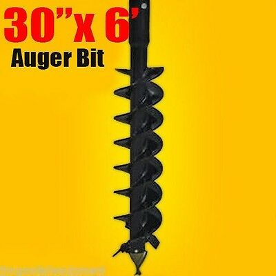 """30""""x 6' Auger Bit HDC 2"""" Round, For Difficult Digging Conditions, Made In USA"""