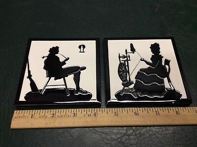 Pair of Vintage Black & White Silhouette American Franklin Tiles