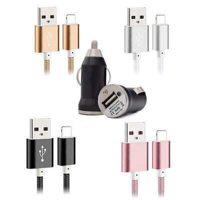 USB Fast Charging Cable & Car Charger for iPhone X 8 7 6s 6 Plus 5s 5c 5 SE
