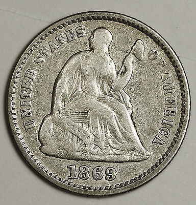 1869 Liberty Seated Half Dime.  Fine.  99543