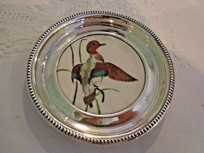 Frank M. Whiting Sterling Silver & China Green Wing Teal Coaster No Monogram