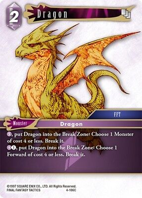 3x - 	Dragon	-   4-106C	 - 	Common   -NM-  Final Fantasy TCG  OPUS 4 IV