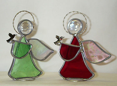 Ruby Throated Green Hummingbird Stained Glass Guardian Angel Made in America New