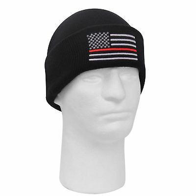 Rothco Embroidered Firefighter Thin Red Line Knit Watch Cap Beanie #5433