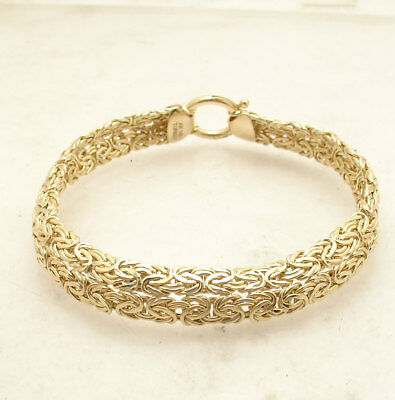 Double Row Domed Byzantine Link Bracelet Senora Clasp Real 14K Yellow Gold QVC