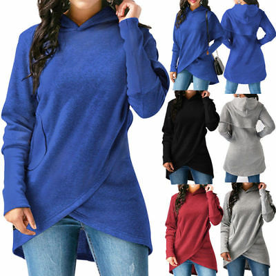 Womens Long Sleeve Asymmetric Hem Wrap Hoodie Hooded Sweatshirt Outwear Tops US