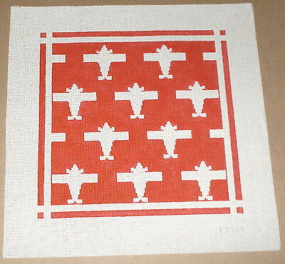 Red & White Airplanes Design Handpainted Needlepoint Canvas