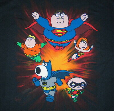 The Family Guy Super Crew as DC Super-Heroes T-Shirt, NEW UNUSED