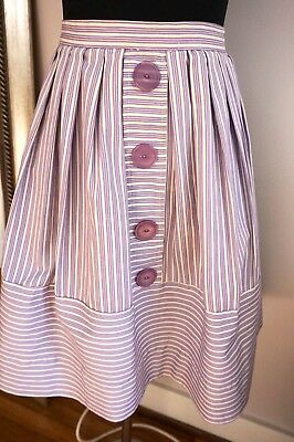 50s Striped PURPLE Pleated SKIRT w/ BIG BUTTONS! Rockabilly / VLV ~ TLC ~ AS-IS