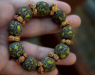 Very Old Phoenician Glass Roman Beads With 23K Gold Over Silver Bracelet