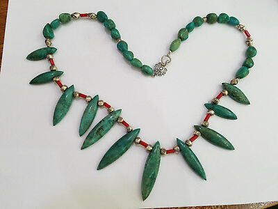 Vintage JBB Navajo Native Sterling Silver Turquoise & Coral Necklace - 7955