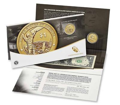 2015~~Native American $1 Enhanced Uncirculated Coin and Currency Set~~MOHAWK