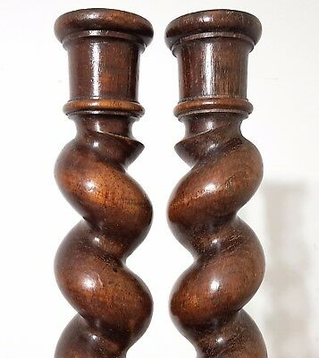 "SPIRAL TURNED BARLEY TWIST COLUMN 26"" SOLID PAIR ANTIQUE FRENCH WOOD PILLAR 19th"