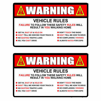 x2 Warning Rules Decal Sticker Funny FOR Jeep JDM Car Truck SUV  5""