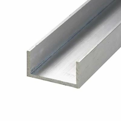 """6063-T52 Aluminum Channel, Width: 1"""", Height: 1"""", Length: 12"""", Thickness: 1/8"""""""