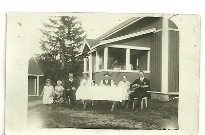 Photo Vintage Snapshot Children Musical Instrument Family Party Picnic   #120