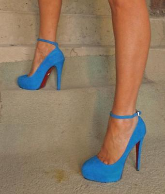 Stylemology THURMAN  Sexy Unabashed Glamour Blue Suede Heels Size 8.5