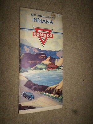 """1931 Conoco Gas & Oil """"Highway Road Map Indiana"""" Dealer Street Guide"""