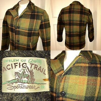 Vtg 60s 70s Mens 38 Olive Plaid PACIFIC TRAIL Fur Lined HUNTING Coat WOOL Jacket