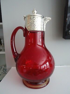 Antique English Gold Ruby Red Star Cut Glass & Sterling Silver CLARET JUG Wine