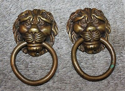 Antique Solid Heavy Bronze Lion Head Draw/door Pulls Set Of 2