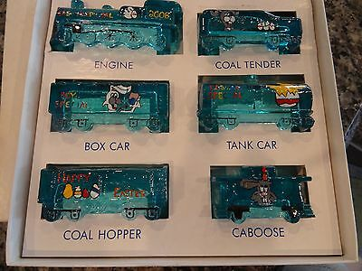 BOYD'S Art Glass Special TRAIN SET in BOX 6 Piece Set EASTER 2008 Hand Painted