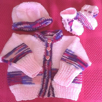 Handknitted Beautiful  Set 3 Piece  Set For Baby Birth To 4 Months